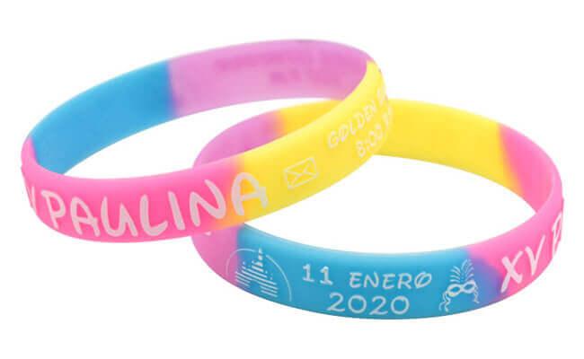 segment debossed ink-filled rubber bracelet